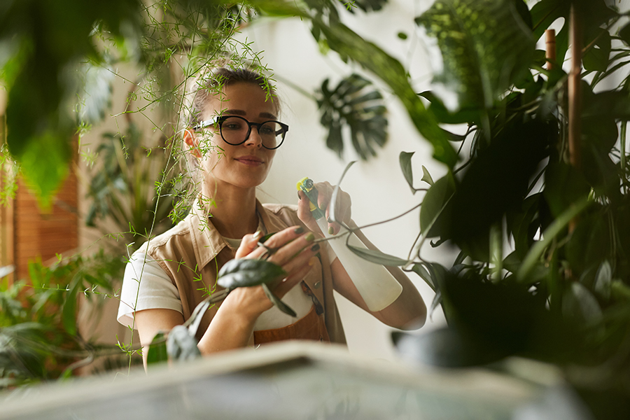 lady tending to her indoor plants